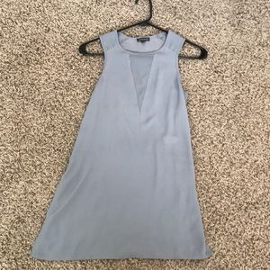 Express Gray Chiffon Tank with Mesh V